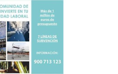 Subvenciones de la Comunidad de Madrid dirigidas a la reducción de la siniestralidad laboral 2019